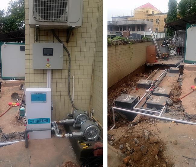 广东省茂名市水东镇AO一体化污水处理设备安装现场