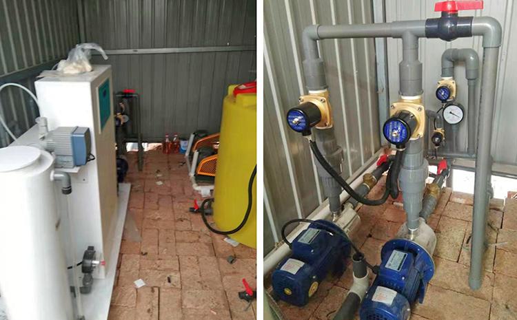 河北沧州地埋式污水处理设备设备间安装图片