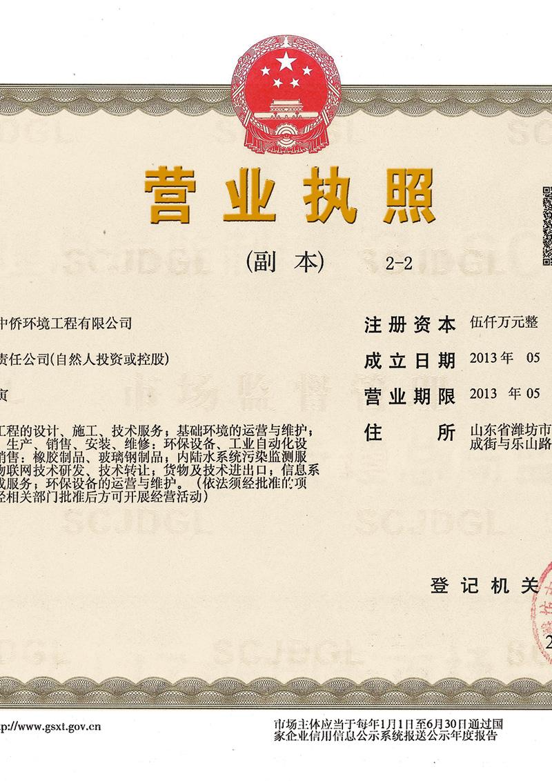 潍坊中侨环境工程有限公司营业执照